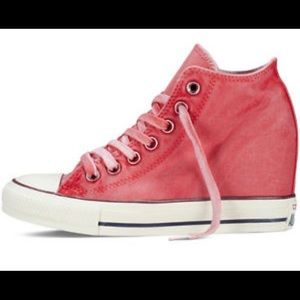a44d03ed0e3 Converse Shoes - Distressed Red Converse Wedges